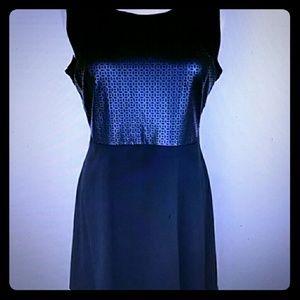 Faux black leather top dress